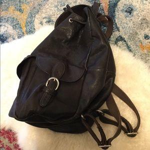 Dark brown genuine leather large backpack